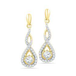 0.50 CTW Diamond Solitaire Teardrop Dangle Earrings 10KT Yellow Gold - REF-52N4F