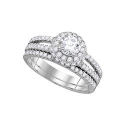 1.5 CTW Diamond Halo Bridal Engagement Ring 14KT White Gold - REF-344M9H