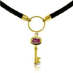 Genuine 0.50 ctw Pink Topaz Necklace Jewelry 14KT Rose Gold - REF-66N2R