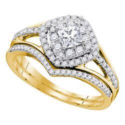 0.75 CTW Princess Diamond Bridal Engagement Ring 14k Yellow Gold - REF-104W9K