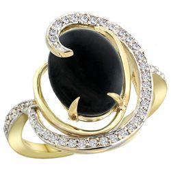 Natural 2.54 ctw onyx & Diamond Engagement Ring 14K Yellow Gold - REF-65G8M