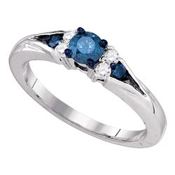 0.50 CTW Blue Color Diamond Solitaire Bridal Engagement Ring 10KT White Gold - REF-41Y9X