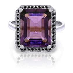 Genuine 5.8 ctw Amethyst & Black Diamond Ring Jewelry 14KT White Gold - REF-79W8Y