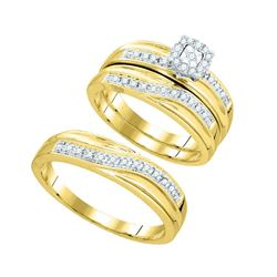 0.33 CTW Diamond Matching Trio Mens Wedding Bridal Ring 10KT Yellow Gold - REF-49Y5X