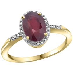 Natural 1.5 ctw Ruby & Diamond Engagement Ring 10K Yellow Gold - REF-18W2K