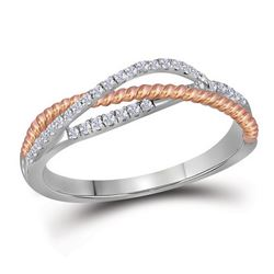 0.20 CTW Diamond Rope Crossover Strand Ring 10KT Two-tone Gold - REF-24X2Y