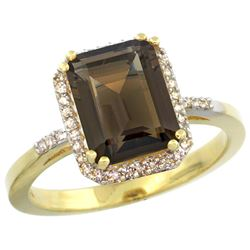 Natural 2.63 ctw Smoky-topaz & Diamond Engagement Ring 14K Yellow Gold - REF-42X8A