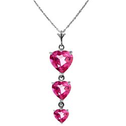 Genuine 3.03 ctw Pink Topaz Necklace Jewelry 14KT White Gold - REF-37Z2N
