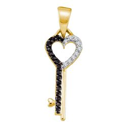 0.10 CTW Black Color Diamond Key Heart Pendant 10KT Yellow Gold - REF-10Y5X