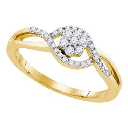 0.25 CTW Diamond Flower Swirl Ring 10KT Yellow Gold - REF-26X9Y
