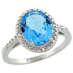 Natural 2.42 ctw Swiss-blue-topaz & Diamond Engagement Ring 14K White Gold - REF-34F7N