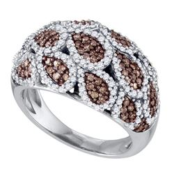 1.04 CTW Brown Color Diamond Fashion Ring 10KT White Gold - REF-71H9M