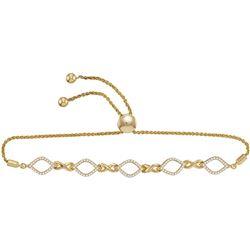 0.25 CTW Diamond Infinity Oval Bolo Bracelet 10KT Yellow Gold - REF-48X7Y