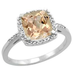Natural 2.09 ctw Morganite & Diamond Engagement Ring 14K White Gold - REF-52M2H