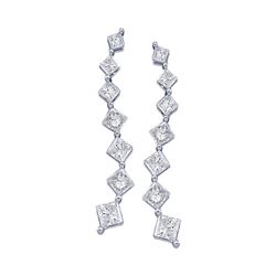 0.50 CTW Princess Diamond Journey Stud Earrings 14KT White Gold - REF-47H8M