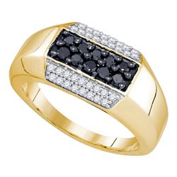 0.70 CTW Mens Black Color Diamond Cluster Ring 10KT Yellow Gold - REF-41M9H