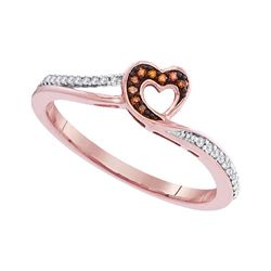 0.10 CTW Red Color Diamond Heart Love Ring 10KT Rose Gold - REF-13M4H