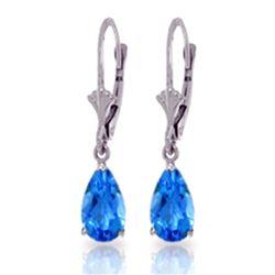 Genuine 3.77 ctw Blue Topaz Earrings Jewelry 14KT White Gold - REF-30F2Z
