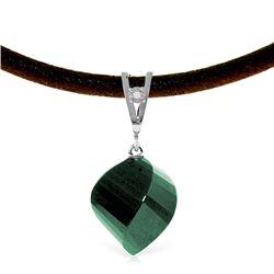 Genuine 15.26 ctw Green Sapphire Corundum & Diamond Necklace Jewelry 14KT White Gold - REF-49H8X