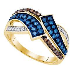0.50 CTW Blue & Cognac-brown Color Diamond Ring 10KT Yellow Gold - REF-26H9M