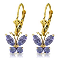 Genuine 1.24 ctw Tanzanite Earrings Jewelry 14KT Yellow Gold - REF-48V3W