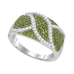 0.75 CTW Green Color Diamond Fashion Ring 10KT White Gold - REF-41F9N