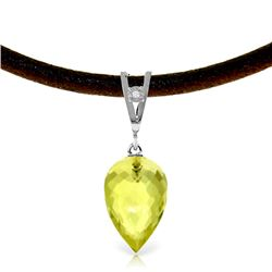 Genuine 9.01 ctw Lemon Quartz & Diamond Necklace Jewelry 14KT White Gold - REF-35X4M