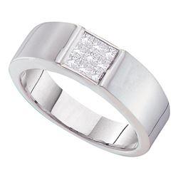 0.50 CTW Mens Princess Diamond Cluster Anniversary Ring 14KT White Gold - REF-75M2H