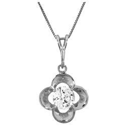 Genuine 0.50 ctw Diamond Anniversary Necklace Jewelry 14KT White Gold - REF-143P9H