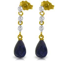 Genuine 6.9 ctw Sapphire & Diamond Earrings Jewelry 14KT Yellow Gold - REF-44V9W