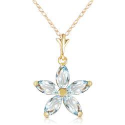 Genuine 1.40 ctw Aquamarine Necklace Jewelry 14KT White Gold - REF-30R3P