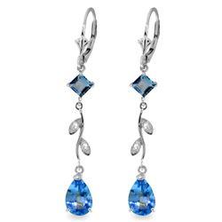 Genuine 3.97 ctw Blue Topaz & Diamond Earrings Jewelry 14KT White Gold - REF-44K9V