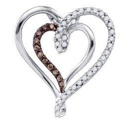 0.24 CTW Cognac-brown Color Diamond Double Nested Heart Pendant 10KT White Gold - REF-22Y4X