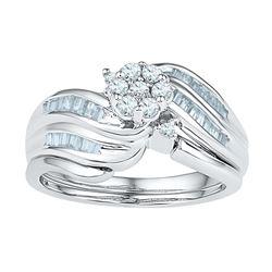 0.50 CTW Diamond Flower Cluster Bridal Engagement Ring 10KT White Gold - REF-47M9H