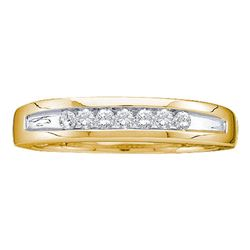 0.25 CTW Mens Channel-set Diamond Two-tone Single Row Ring 14KT Yellow Gold - REF-41H9M