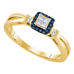 0.16 CTW Princess Blue Color Diamond Fashion Ring 14KT Yellow Gold - REF-32N9F