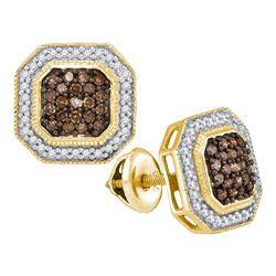 0.50 CTW Cognac Brown Color Diamond Octagon Stud Earrings 10KT Yellow Gold - REF-30K2W