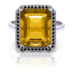 Genuine 5.8 ctw Citrine & Black Diamond Ring Jewelry 14KT White Gold - REF-79P8H