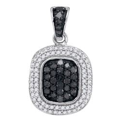 0.50 CTW Black Color Diamond Square Cluster Pendant 10KT White Gold - REF-25H4M