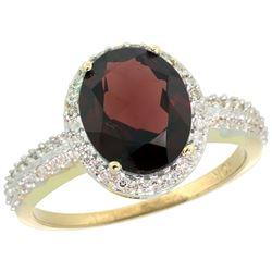 Natural 2.56 ctw Garnet & Diamond Engagement Ring 14K Yellow Gold - REF-45N3G