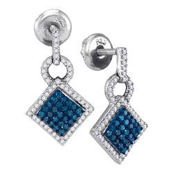 0.50 CTW Blue Color Diamond Square Dangle Earrings 10KT White Gold - REF-26M9H