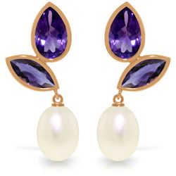Genuine 16 ctw Pearl & Amethyst Earrings Jewelry 14KT Rose Gold - REF-42T2A