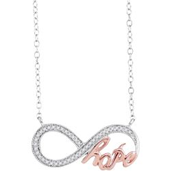 0.10 CTW Diamond Infinity Hope Rose-tone Pendant 10KT White Gold - REF-19M4H