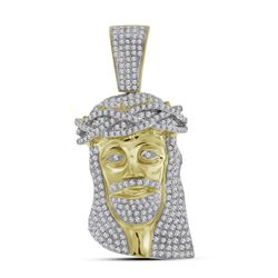 1.7 CTW Mens Diamond Jesus Head Pendant 10KT Yellow Gold - REF-89H9M