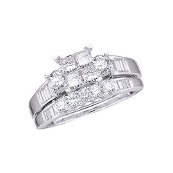 1 CTW Princess Diamond Bridal Engagement Ring 10KT White Gold - REF-79H4M