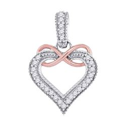 0.10 CTW Diamond Heart Infinity Pendant 10KT Two-tone Gold - REF-10W5K