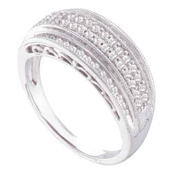0.38 CTW Diamond Domed Ring 10KT White Gold - REF-37K5W