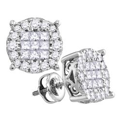 0.50 CTW Princess Diamond Soleil Cluster Earrings 14KT White Gold - REF-52M4H