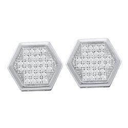 0.20 CTW Diamond Hexagon Cluster Earrings 10KT White Gold - REF-26N9F
