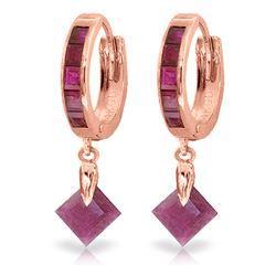 Genuine 3.7 ctw Ruby Earrings Jewelry 14KT Rose Gold - REF-60W3Y